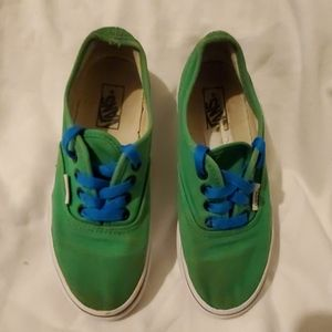 Vans youth size 1y green